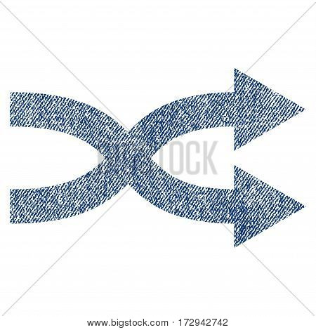 Shuffle Arrows Right vector textured icon for overlay watermark stamps. Blue jeans fabric vectorized texture. Symbol with scratched design. Blue ink rubber seal stamp with fiber textile structure.