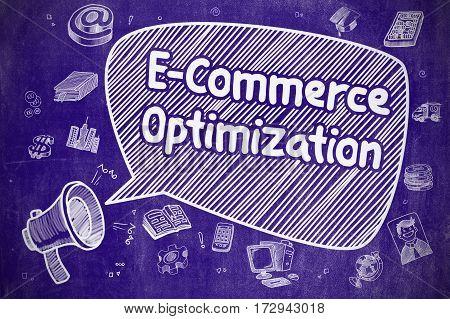 Shouting Loudspeaker with Wording E-Commerce Optimization on Speech Bubble. Cartoon Illustration. Business Concept.