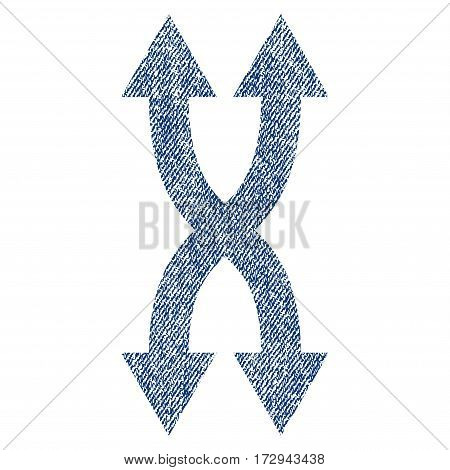 Shuffle Arrows Vertical vector textured icon for overlay watermark stamps. Blue jeans fabric vectorized texture. Symbol with scratched design. Blue ink rubber seal stamp with fiber textile structure.