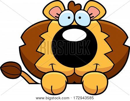 Cartoon Lion Cub Peeking