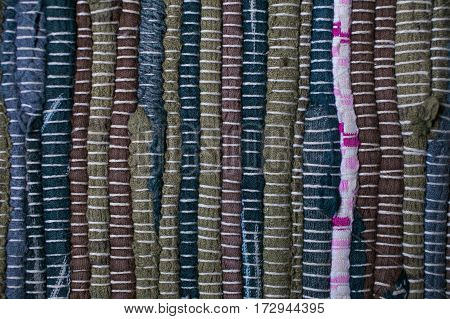 Colorful carpet texture. Background of andalusian carpet. Jarapa. Handmade carpet. Close up of beautiful hand made carpet. Multicolor abstract texture and background for designers.