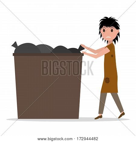 Vector illustration cartoon hobo homeless jobless woman to garbage can, dumpster. Isolated white background. Young beggar woman rummaged in trash can. Flat style. Female poverty, hopelessness, misery.