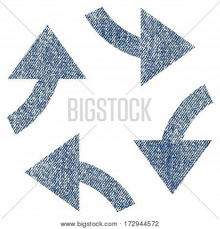 Swirl Arrows vector textured icon for overlay watermark stamps. Blue jeans fabric vectorized texture. Symbol with scratched design. Blue ink rubber seal stamp with fiber textile structure.