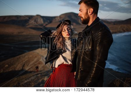 Couple In Love Walking In The Mountains