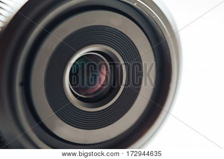 Mirrorless camera lens close up macro photo. Photography Equipment