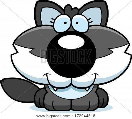Cartoon Happy Wolf Pup