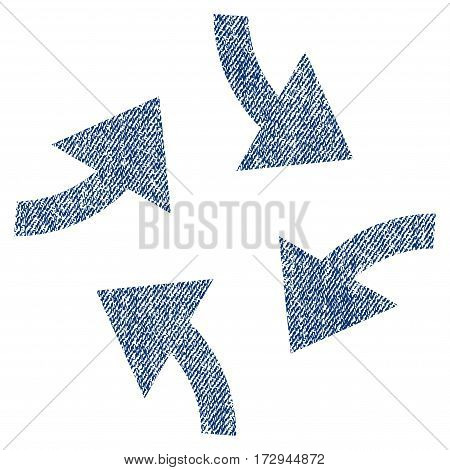 Swirl Arrows vector textured icon for overlay watermark stamps. Blue jeans fabric vectorized texture. Symbol with unclean design. Blue ink rubber seal stamp with fiber textile structure.