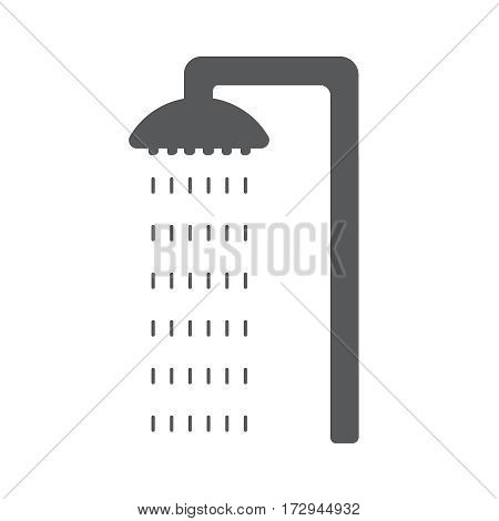 Flat cyan and shower icon with water drops. Vector illustration EPS10