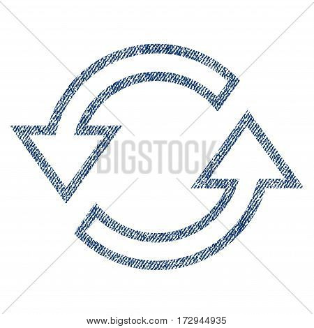 Sync Arrows vector textured icon for overlay watermark stamps. Blue jeans fabric vectorized texture. Symbol with scratched design. Blue ink rubber seal stamp with fiber textile structure.