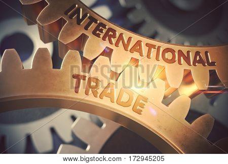 International Trade - Illustration with Lens Flare. International Trade Golden Metallic Cog Gears. 3D Rendering.