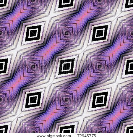Abstract seamless fractal pattern with beveled squares and stripes. Pink, black, purple and white striped dashed pattern