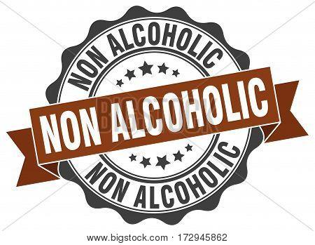non alcoholic. stamp. sign. seal. round. retro. ribbon