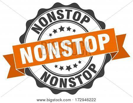 nonstop. stamp. sign. seal. round. retro. ribbon