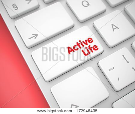 Online Service Concept: Active Life on Slim Aluminum Keyboard lying on the Red Background. Close Up View on the Modern Computer Keyboard - Active Life White Button. 3D Illustration.