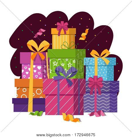 Gift boxes stack in flat style vector illustration. Gift present packaging in paper