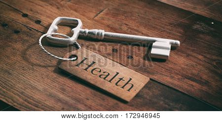 Old Key With Tag Health On A Wooden Background. 3D Illustration