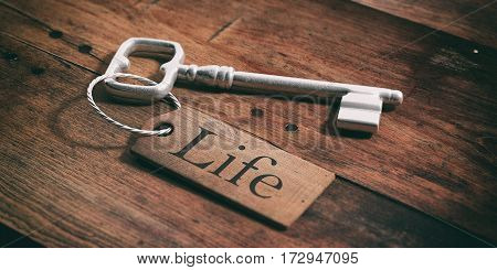 Old Key With Tag Life On A Wooden Background. 3D Illustration