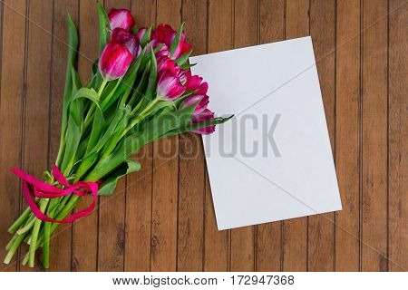 Tulips On Wooden Background, Card With Copy Space