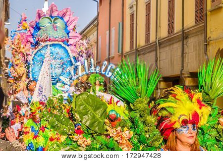 Cento Italy 19 feb 2017: colorful parade floats pass through the village streets during the Carnevale di Cento event