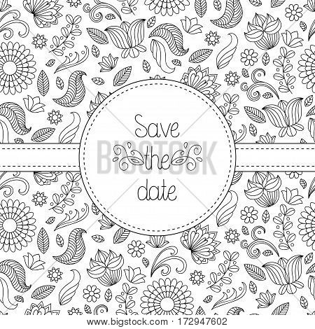 Black and white vector wedding invitation card in floral frame and text save the date