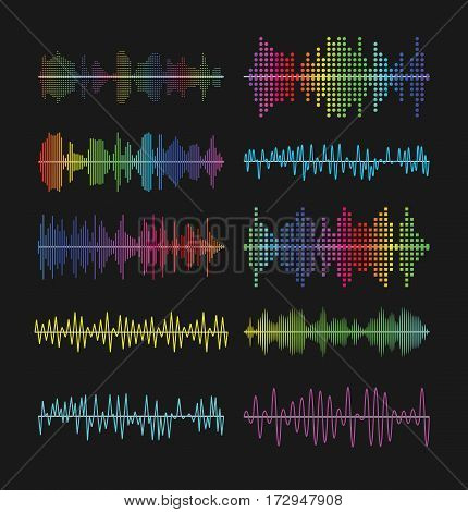 Multicolored graphic equalizer waves, soundtrack waveforms vector illustration. Music volume wave amplifier symbols. Color wavy musical sound