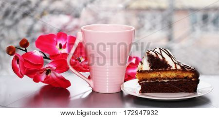 A delicious chocolate cake a beautiful fresh dessert foot