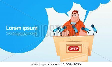 Man Video Blogger Online Stream Blogging Subscribe Concept Flat Vector Illustration