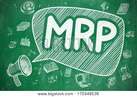 MRP - Materials Requirement Planning on Speech Bubble. Doodle Illustration of Yelling Loudspeaker. Advertising Concept.