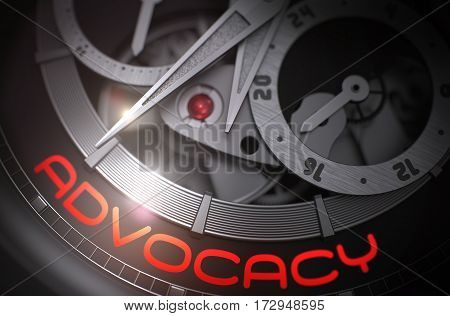 Fashion Pocket Watch with Advocacy on the Face, Symbol of Time. Advocacy on the Automatic Men Watch, Chronograph Closeup. Time and Work Concept with Glow Effect and Lens Flare. 3D Rendering.