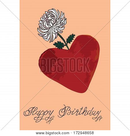 Heart with flower Hand drawn sketched vector illustration. Doodle graphic with ornate pattern.