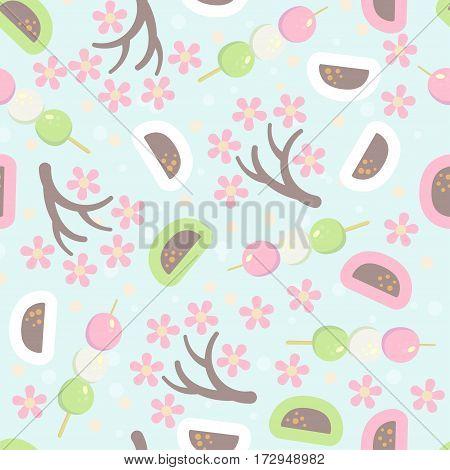 Hanami festival  seamless pattern with blooming sakura , pink lantern and hanami picnic desserts