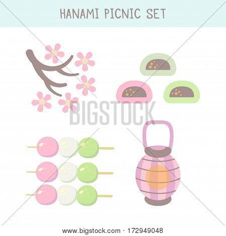 Hanami festival  set with blooming sakura , pink lantern and hanami picnic desserts