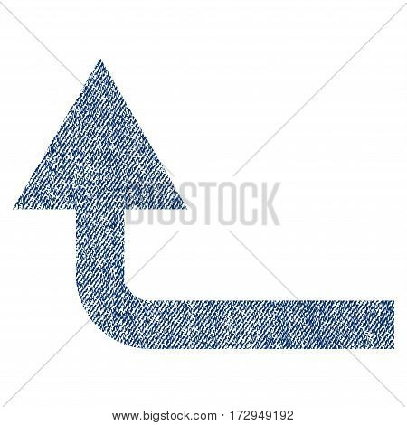 Turn Forward vector textured icon for overlay watermark stamps. Blue jeans fabric vectorized texture. Symbol with dust design. Blue ink rubber seal stamp with fiber textile structure.