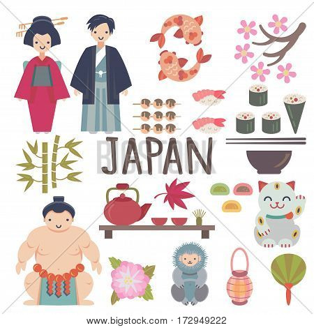 Japanese vector collection with Geisha, Sumo Wrestler, Sushi, Sakura, Snow Monkey, Maneki Neko and other japanese symbols. Each object is handy grouped