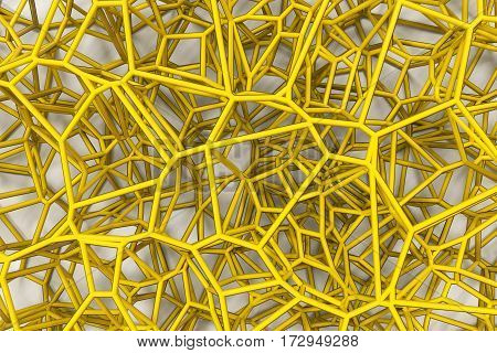 Abstract 3D Voronoi Lattice On White Background