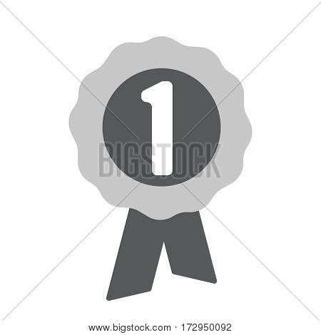 Round icon with number one medal. Flat vector illustration EPS 10