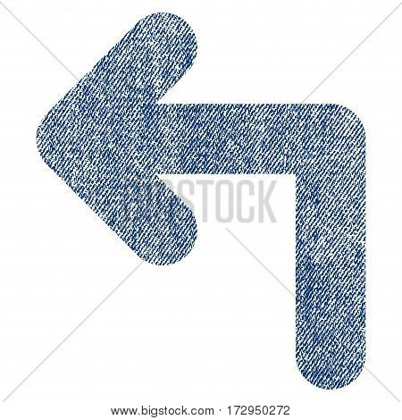 Turn Left vector textured icon for overlay watermark stamps. Blue jeans fabric vectorized texture. Symbol with unclean design. Blue ink rubber seal stamp with fiber textile structure.