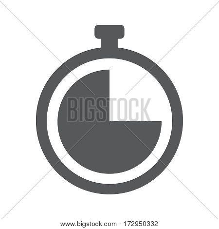Clock timer flat vector gray icon illustration EPS 10