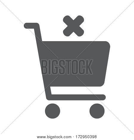 Flat icon of shopping chart on white background. Vector illustration EPS 10. Cancel order.