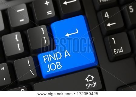 Find A Job on Modern Laptop Keyboard Background. 3D.