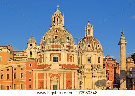 church Santa Maria di Loreto located near the giant Monument of Vittorio Emanuele II in the evening light, Rome, Italy