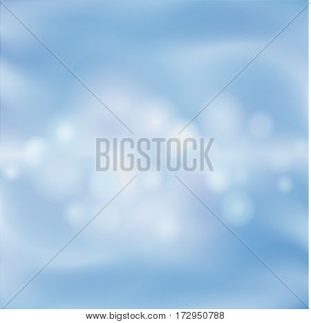 Abstract Blur Background. Blue Sky Wallaper. Water Waves And Buubles Pattern.