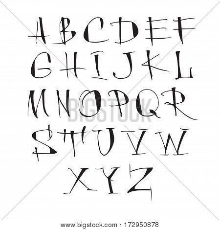 Handwritten vector calligraphic black alphabet on white background