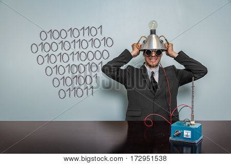 101010 text with vintage businessman and machine at office