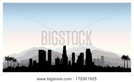 Los Angeles, Usa Skyline. City Silhouette With Skyscraper Buildings, Mountains And Palm Trees. Famou