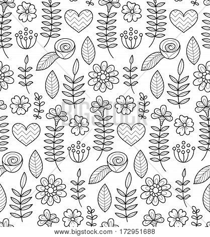 Black and white vector seamless floral pattern. Summer endless background with flowers and hearts