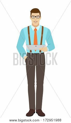 Businessman holding digital tablet PC. A man wearing a tie and suspenders. Full length portrait of businessman in a flat style. Vector illustration.