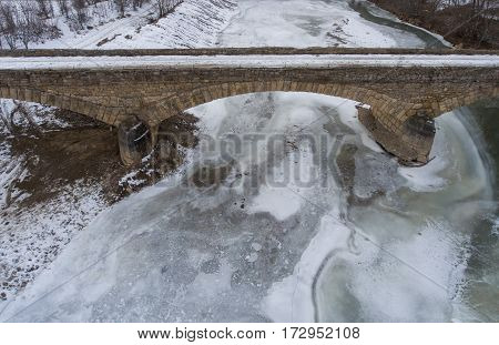 Aerial View Of The Old Stone Bridge.