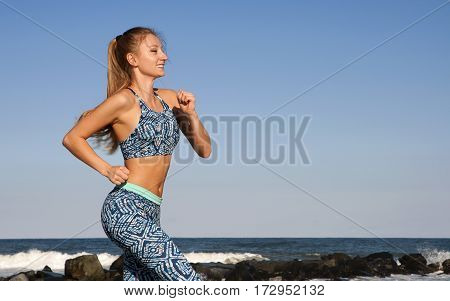 Woman Running On The Beach, Fitness And Weight Loss