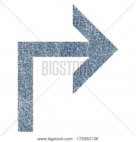 Turn Right vector textured icon for overlay watermark stamps. Blue jeans fabric vectorized texture. Symbol with unclean design. Blue ink rubber seal stamp with fiber textile structure.